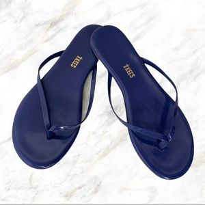 Tkees   Navy Blue Glossy Leather Flip Flops